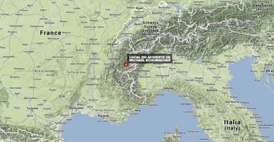 Mapa mostra o local do acidente de Michael Schumacher (Foto: Editoria de Arte)