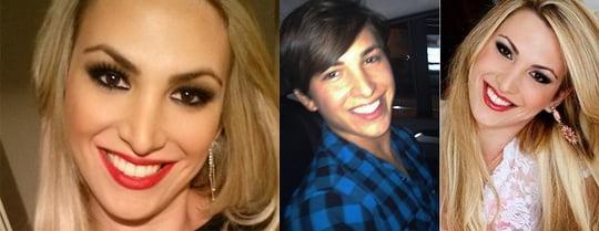 Rebeka antes e depois de se tornar mulher