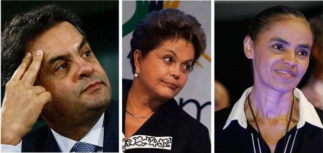 Aécio, Dilma e Marina aparecem na nova pesquisa Datafolha