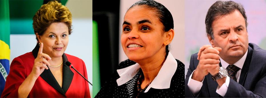 Dilma Rousseff, Aécio Neves, e Marina Silva são os três principais candidatos à corrida presidencial 2014   Fotos: reprodução