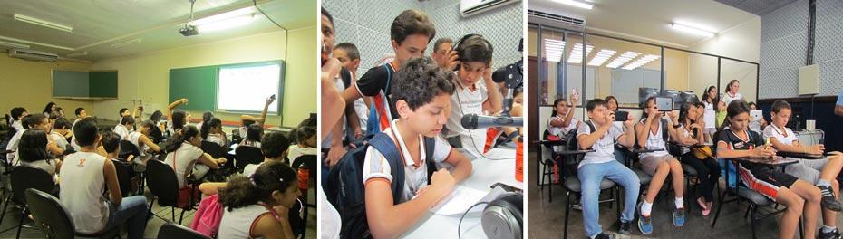 Os alunos curtiram uma exibição de vídeos, fizeram gravações no laboratório de rádio e visitaram o laboratório de TV   Fotos: Araticum