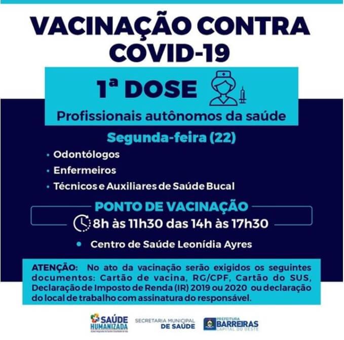 Profissionais de saúde receberão a vacina contra COVID-19.