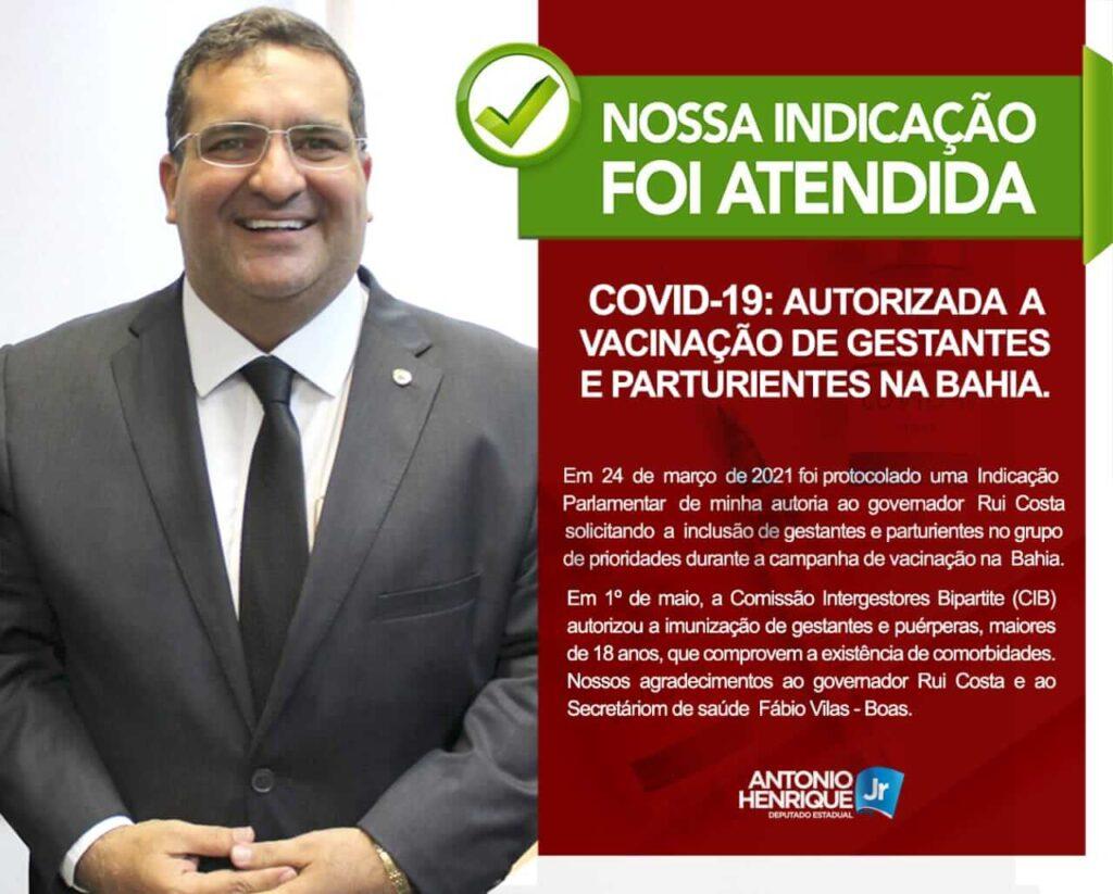 Gestantes e puérperas da Bahia receberão vacina contra COVID-19