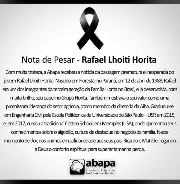 Nota de pesar Rafael Lhoitit Horita.