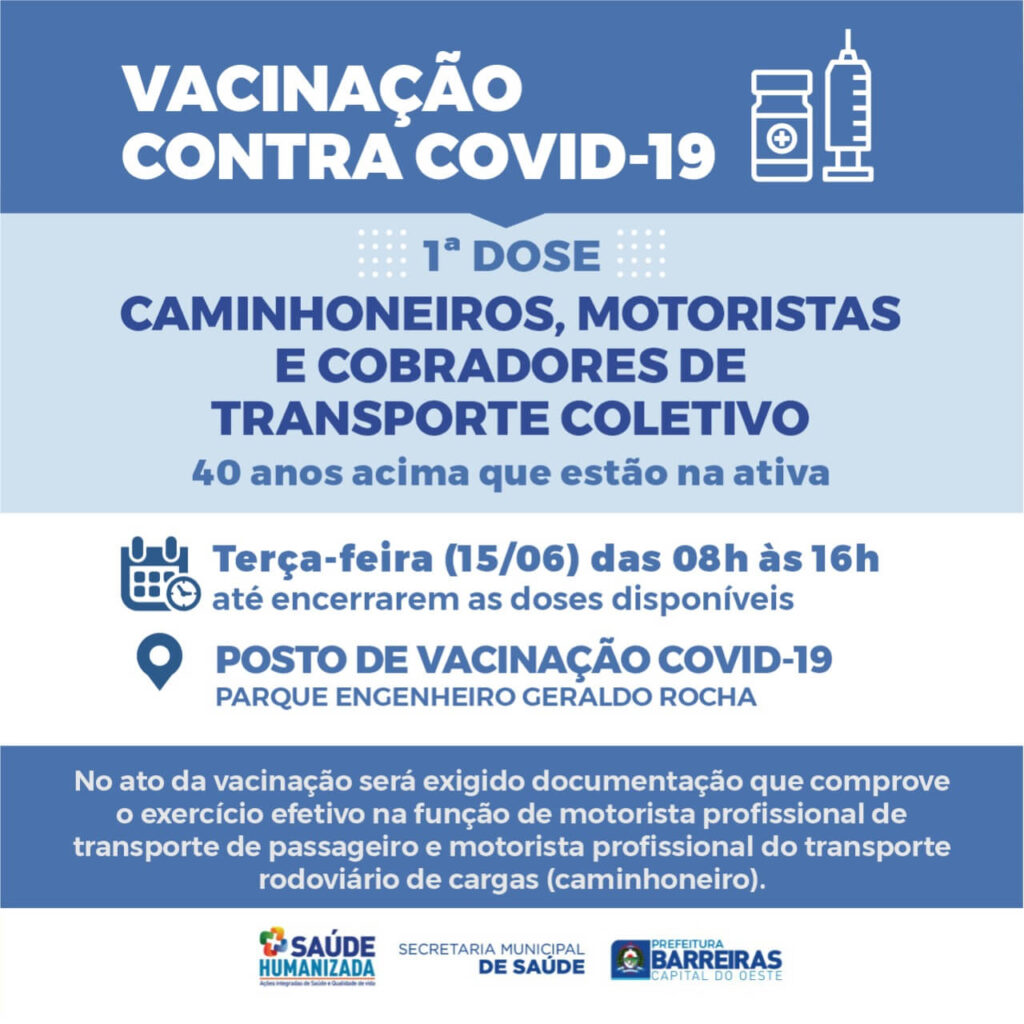 Pessoas de 56 a 58 anos serão vacinadas nesta terça (15) em Barreiras