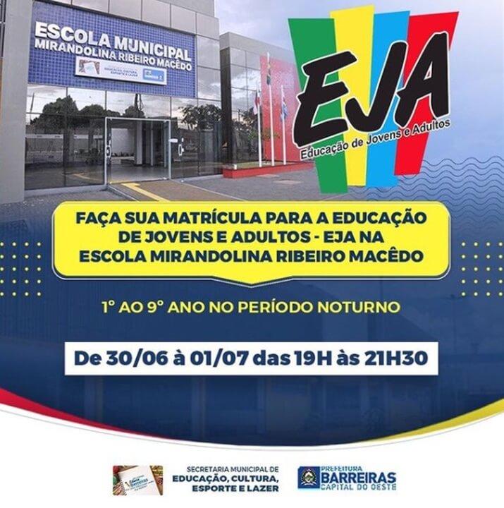 Matrículas para Educação de Jovens e Adultos (EJA) em Barreiras serão abertas nesta quarta (30)