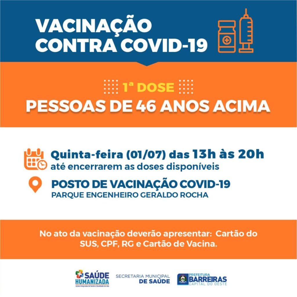 Pessoas a partir de 46 anos serão vacinadas nesta quinta (01) em Barreiras