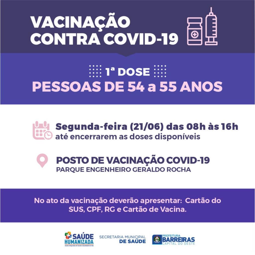 Pessoas de 54 a 55 anos serão vacinadas nesta segunda (21) em Barreiras