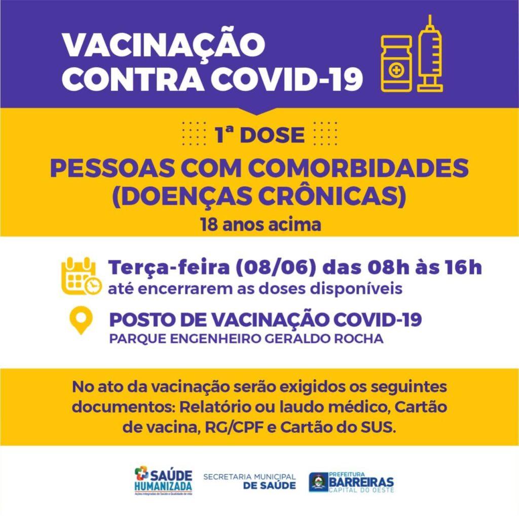 Trabalhadores da educação de Barreiras a partir de 25 anos serão vacinados nesta terça (08)