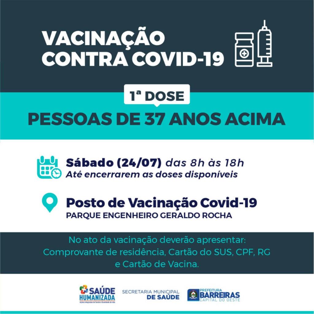 Pessoas a partir de 37 anos serão vacinadas contra COVID-19 neste sábado (24) em Barreiras