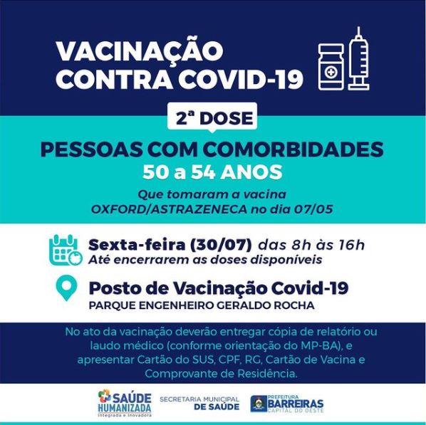 Pessoas com comorbidades de 50 a 54 anos receberão 2ª dose de vacina contra COVID-19 nesta sexta (30) em Barreiras