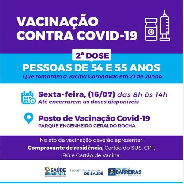 Pessoas de 54 e 55 anos receberão 2ª dose de vacina contra COVID-19 nesta sexta (16) em Barreiras