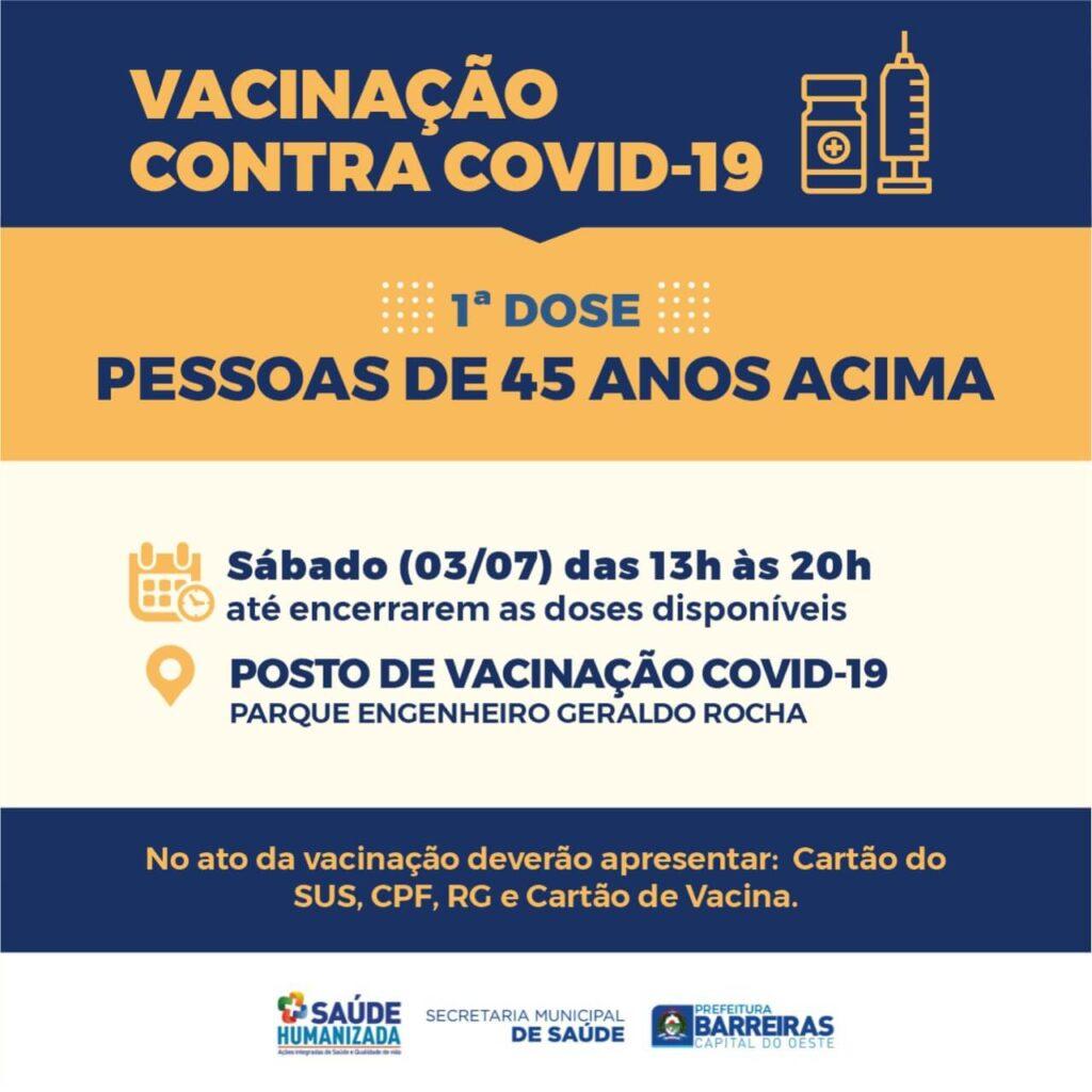 Pessoas a partir de 45 anos serão vacinadas neste sábado (03) em Barreiras