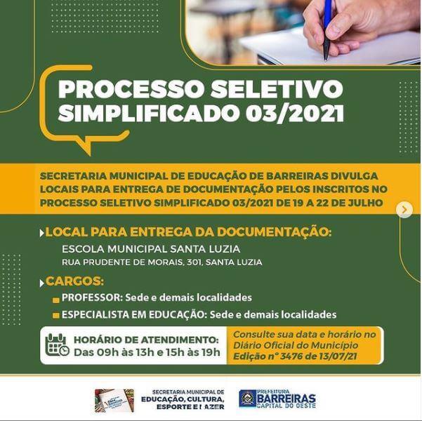 Prefeitura de Barreiras divulga lista de convocados do Processo Seletivo da Educação para entrega de documentos