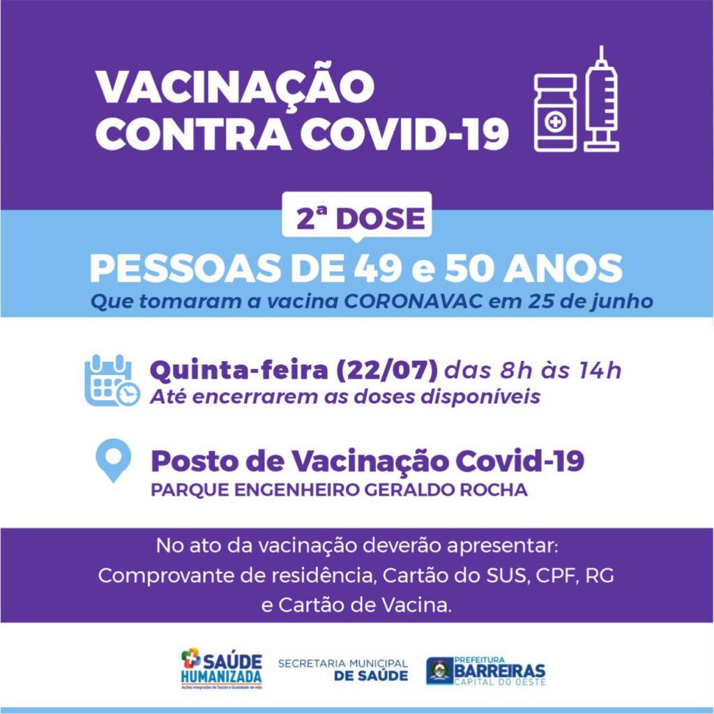 Pessoas de 49 e 50 anos receberão 2ª dose de vacina contra COVID-19 nesta quinta (22) em Barreiras