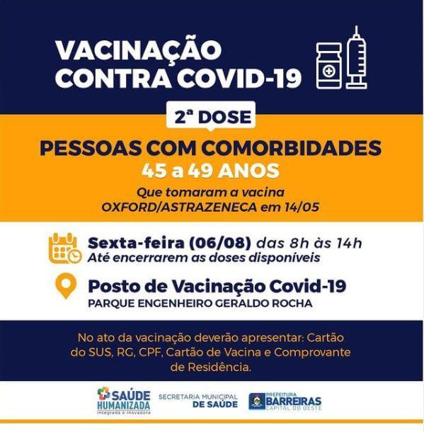 Pessoas de 45 a 49 anos receberão 2ª dose de vacina contra COVID-19 nesta sexta (06) em Barreiras